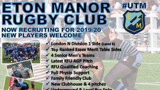 Eton Manor Recruitment 2019-20.