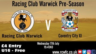Racing to face a Coventry City XI in pre-season addition