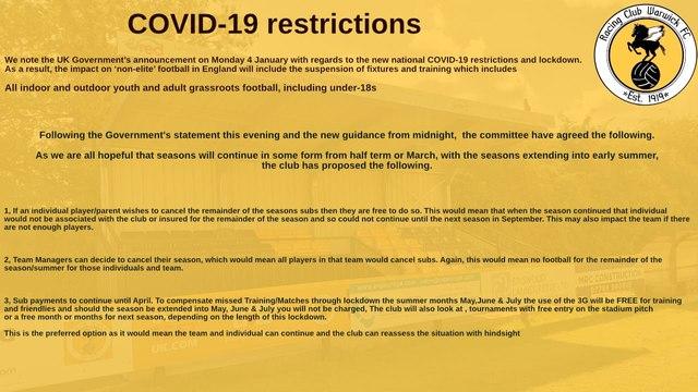 Updated guidance for Racing Club Warwick Juniors 04/01/21