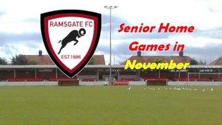 1 Nov: Senior Home Fixtures