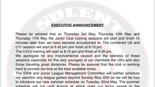 Executive Committee announcement