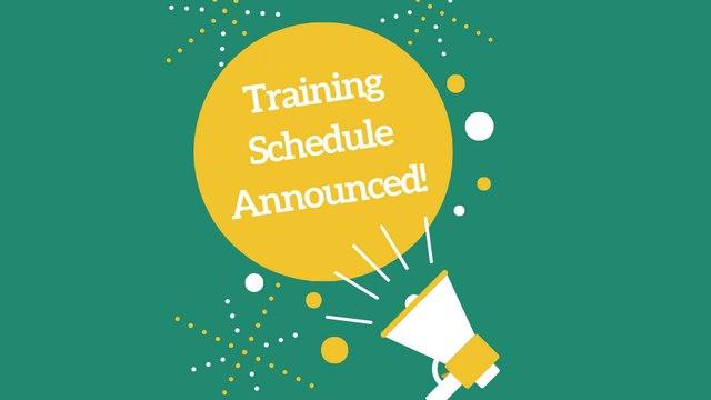 2020 Training Schedule Announced!