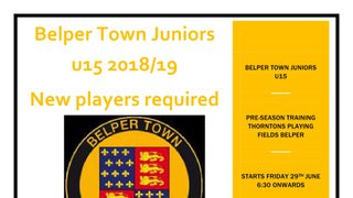 Belper Town U15's 2018/19 - New Players Required