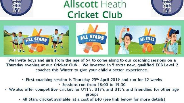 Allscott Heath C.C. Junior Cricket