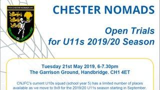 Open trials for next seasons U11s