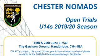 Open trials for next seasons U14s