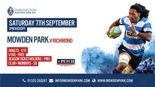 Next Home Game - Saturday 7th September v Richmond