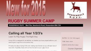 Rossendale RFC first Summer Camp 12th,13& 14th Aug ast years school years 1,2,& 3