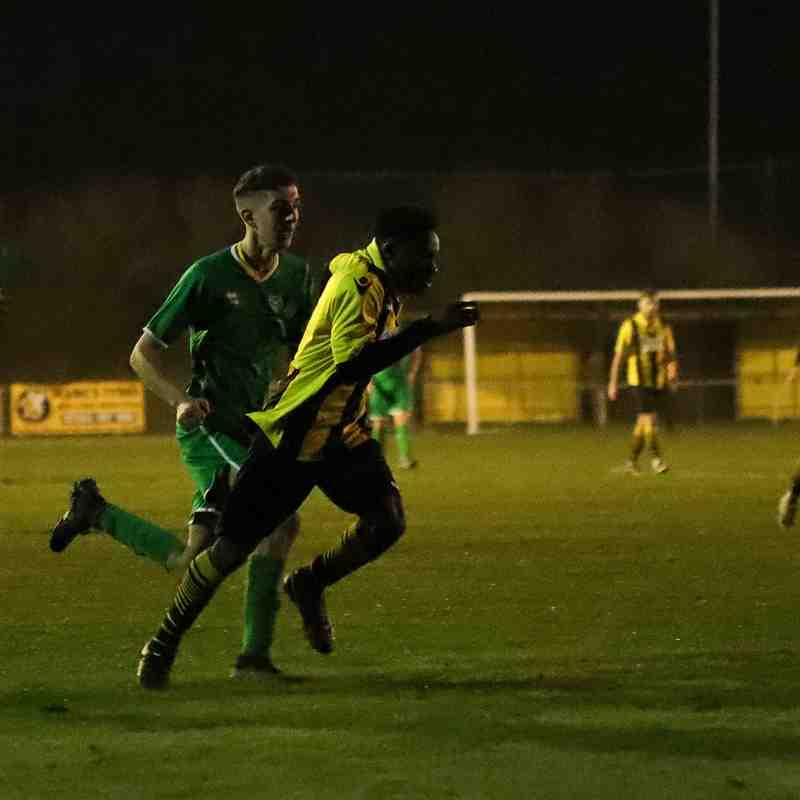 Jeffrey Cobblah finds a route through the Canvey Island defence in the last minutes of the match