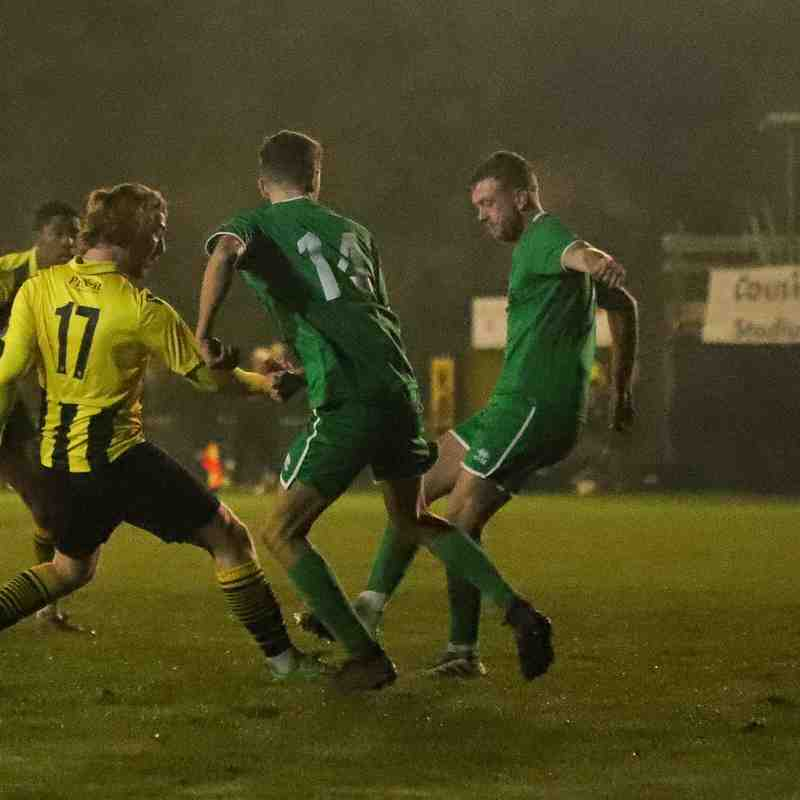 Canvey Island struggled to keep Harry Doyle (left) quiet in the second-half at the Cousins Car Wash Stadium