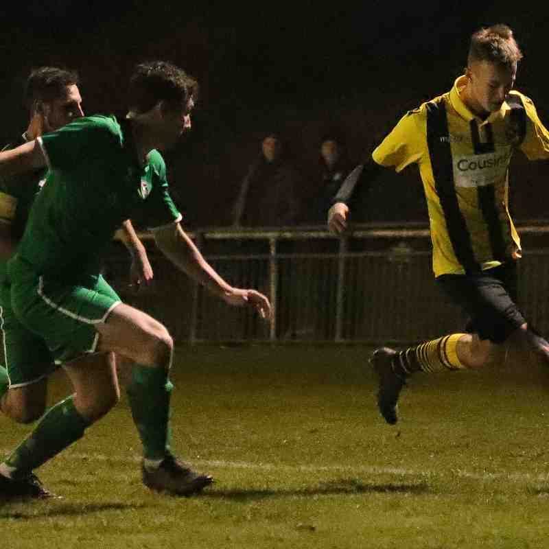 Luke Jackson works the Canvey Island backline down the flanks