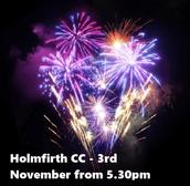Bonfire Night at the Cricket Club - 3rd November from 5:30pm