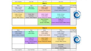 TRAINING SCHEDULE for all age groups