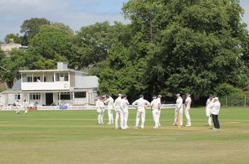 The boys celebrating the first wicket