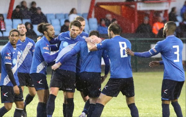 The boys celebrate Lewis Wilson's goal after some brilliant work by Ross Oulton