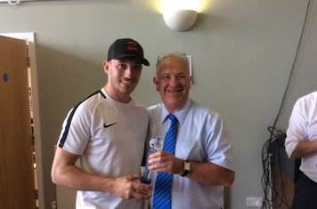 Herald Player Chris Cox presented by Andy Chilton, Club Director