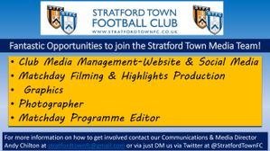 Opportunities to come and join the Stratford Town Media Team!