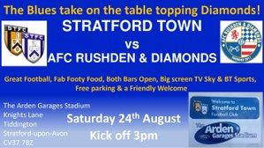 We host AFC Rushden & Diamonds this Saturday 24th August KO 3pm