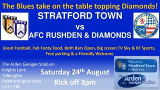 We host AFC Rushden & Diamonds this Saturday 24th August KO 3pm