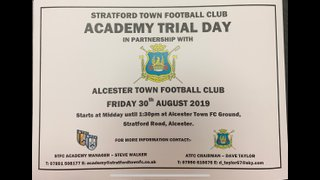 Academy trial day in Partnership with Alcester Town FC Friday 30th August at 12 Noon