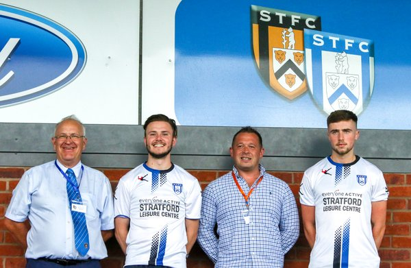 Andy Chilton STFC Director, James Hancocks, Dylan Parker,Nick Stowey Stratford Leisure Centre Manager