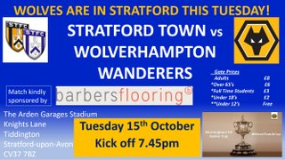 Wolverhampton Wanderers at Town tonight! Tuesday 15th October  KO 7.45pm!