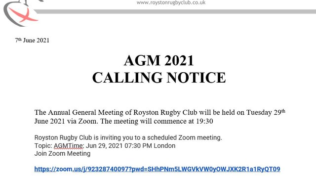 AGM Moves to Zoom