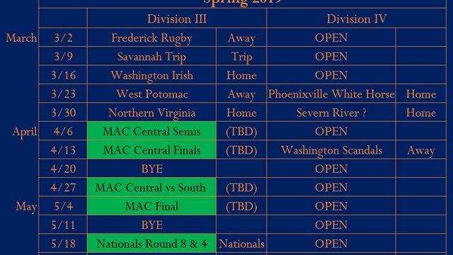 Men's Spring Schedule