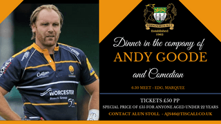 Bookings are now being taken for our Evening with Andy Goode.
