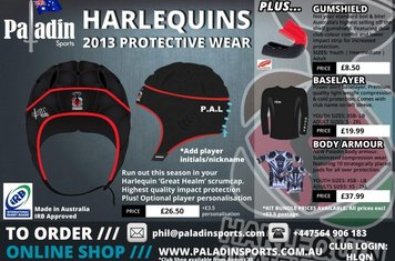 Protective Sports Gear personalised for Quins Amateurs.