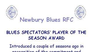 Blues Spectators' Player of the Season award ...
