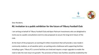Invitation to a public exhibition for the future of Tilbury Football Club