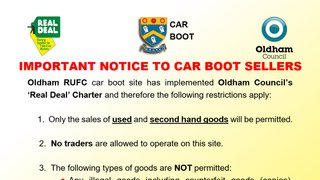 Oldham Rugby - NO CAR BOOT SALES this Bank Holiday Weekend !!!