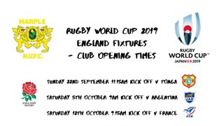 Rugby World Cup Club Opening Times
