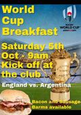 England v Argentia, Saturday 5th Oct 9am kick off