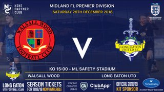 The Blues travel to Walsall Wood on Saturday - 29th December 2018