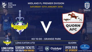 Great game in store v Quorn AFC at Grange Park this Saturday 12th January - kick off 3pm