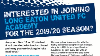 Next Academy Trial Date set for 6th February 2019 at Grange Park
