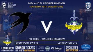 Next up for the Blues is an away trip to Stourport Swifts on Saturday 19th January - kickoff 3pm
