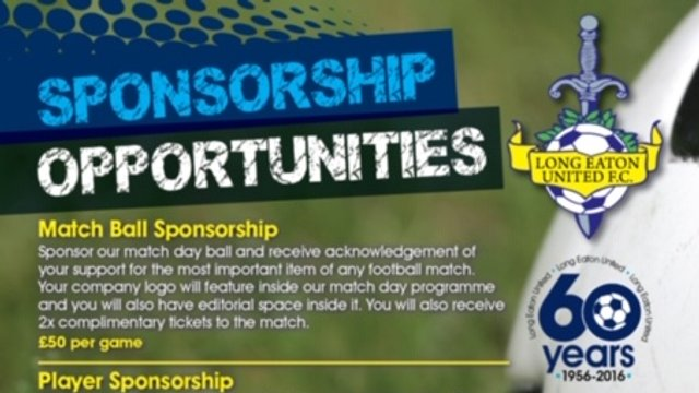 2019/20 Sponsorship Opportunities now available