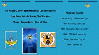 Season starts at home against Racing Club Warwick - Saturday 3rd August - Kick-off 3pm