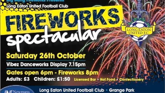 Annual Fireworks Spectacular at Grange Park this Saturday 26th October 2019