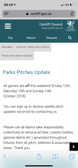 All Parks Games OFF sat Oct 13th