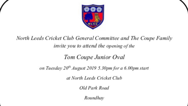 The Tom Coupe Junior Oval Opening Tuesday 20th August 2019