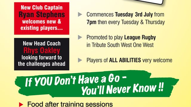 Pre-Season Training Starts Tuesday 3rd July at 7pm