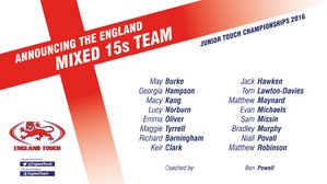 England Touch squad for Under 15's mixed Team 2016