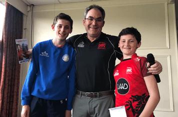 Evan & Osian Vaughan-Jones with chairman Gwyn Williams