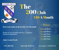 200 Club Draw results for August!