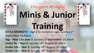 Minis, Juniors, and Monkeys rugby is back