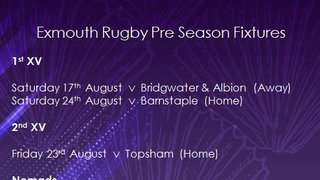Exmouth Rugby Pre-Season Fixtures